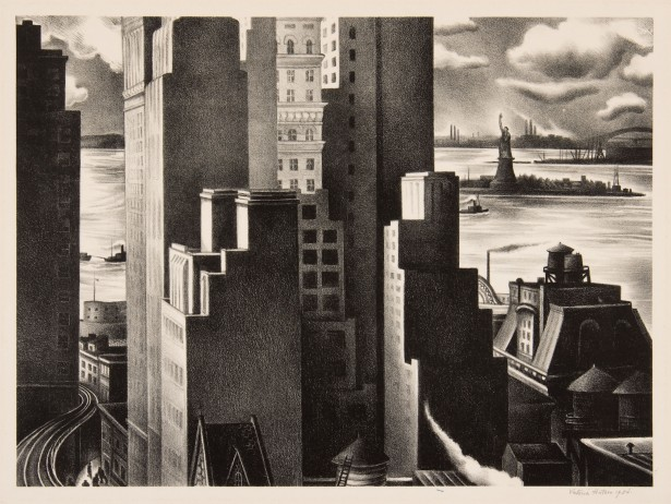 Victoria Ebbels Hutson Huntley, <em>Lower New York</em>, 1934, lithograph. Gift of Mrs. Josephine Lynn, 1959.1.4.