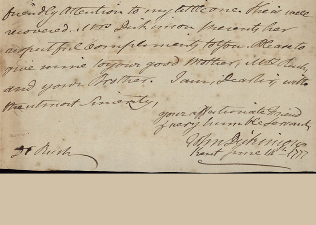 Letter from John Dickinson to Benjamin Rush